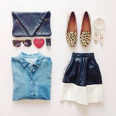"""""""<chambray + leopard loafers>"""""""