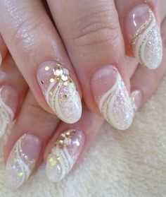 Wedding Nail Art For other models, you can visit the category. For more ideas, please … Cute Acrylic Nail Designs, Cute Acrylic Nails, Nail Art Designs, Gel Nails, Love Nails, Pretty Nails, Black E White, Bridal Nail Art, Wedding Nails Design