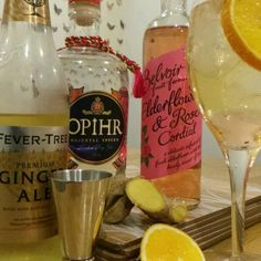Opihr Gin, FeverTree Ginger Ale and Belvoir Fruit Farms Elderflower and Rose Cordial, with Slices of Ginger and Orange, Topped with a Generous Twist of Rainbow Peppercorns. Gin Mixers, Derby Party, Elderflower, Cocktails, Drinks, Ginger Ale, Cordial, Vodka Bottle, Drinking