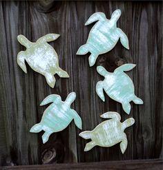 5 Beach-y Sea Turtles, Coastal Living, Nautical Wall Decor, YOU CHOOSE COLORS