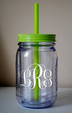 Monogram Mason Jar Cup With Straw. LOVE THIS!!!!! Could make them and use as cups at the wedding that people can then take home as a favor!