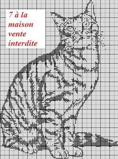7 a la maison Tabby Cat Cat Cross Stitches, Cross Stitch Charts, Cross Stitch Designs, Cross Stitching, Cross Stitch Patterns, Cross Stitch Alphabet, Cross Stitch Animals, Beaded Cross Stitch, Cross Stitch Embroidery