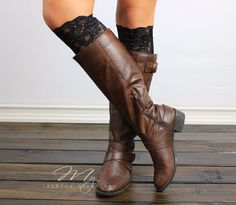 Dainty Lace Boot Cuffs  Black Lace boot toppers by myfashioncreations, $14.99