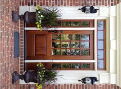 Accesories & Decors Wide Swing Single Half Glass Front Door Ideas With Simple Transom Doors As Well As Brick Column Designs Very Popular Front Door Ideas With Inspiring Front Porch Decors. front door wreath ideas for winter. country porch decorating. christmas decorating ideas front porch.