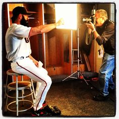 #sfgiants pitcher Brian Wilson is photographed by Morry Gash at photo day at #springtraining.