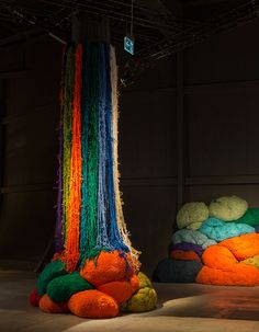 Sheila Hicks knots colorful fiber bundles for séance at design miami/ basel - installation view at design miami/ basel - photo © james harris