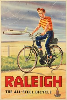 Raleigh Bicycle Poster. 1960. BicyclePosters on Etsy. cycling motivation, cycling posters, cycling, cycling quotes, classic cycling