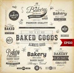 set van vintage bakkerij logo badges en etiketten voor retro design — Stockillustratie #43259785