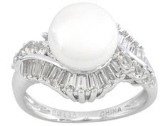 9mm White Cultured Freshwater Pearl With White Topaz 1.03ctw Sterling Silver Ring