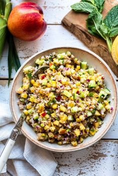 When summer corn and nectarine is plentiful, Summer Corn and Nectarine Tabbouleh is a refreshing bulgur salad and the best tabbouleh for summer! TABBO… - New Site Tabbouleh Recipe, Bulgur Salad, Couscous Salad, Shrimp Salad Recipes, Fruit Salad Recipes, Healthy Side Dishes, Side Dish Recipes, Corn Recipes, Healthy Appetizers