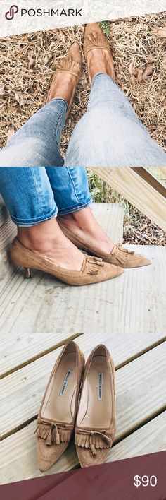 Manolo Blahnik Suede Kitten Heels!! Camel brown suede. Wing tip front design with tassels. Minor scuffing to side and front tips listed in photos 5&7. No box or dust bag but will be package with with care. Runs a half size small. Still in overall very good used condition!! Manolo Blahnik Shoes