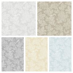 Crown Wallpaper - Paisley Calico Leaf - Shabby Chic - Paste The Wall - Matt Wall