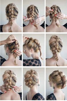 AY 1 – THE BRAID-HAWK How to: Brush all your hair back, away from your face. If you have a fringe or bangs, you can leave them out. Braid your hair with a Dutch braid, starting with a small section at the top of your head. See Braid basics – … Hair Day, Prom Hair, Hair Hacks, Braided Hairstyles, Night Hairstyles, Romantic Hairstyles, Blonde Hairstyles, Latest Hairstyles, Hair Inspiration