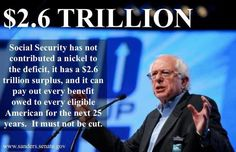 Bernie Sanders:Social Security has not contributed a nickel to the deficit, it has a trillion surplus, and it can pay out every benefit owed to every eligible American for the next 25 years. It must not be cut. Troll, Bernie Sanders For President, Social Security Benefits, Socialism, Social Issues, Atheist, Economics, Revolution, American
