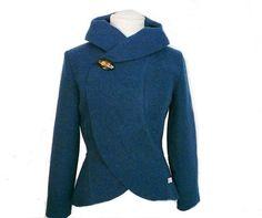 Women+boiled+wool+Jacket+turquoise+size+XsL+by+RosenrotMode,+€99.00