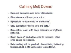 Yes!! If they aren't rebounding give them space!! Ppl think they need to b right on top of them continuing to ask questions of whats wrong it ONLY makes the matter worse .#calming meltdowns