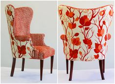 Love the contrasting fabrics - red + orange modern wingback chairs Decor, Furniture, Funky Furniture, Chair Upholstery, Upholstered Furniture, Furniture Upholstery, Modern Wingback Chairs, Red Accent Chair, Upholstered Chairs
