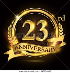 23rd golden anniversary logo with ring and ribbon, laurel wreath vector design.