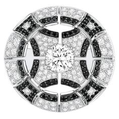Cruise Ring from CafeSociety - Chanel - FineJewelry collection in 18K white gold set with 203 Brilliant Cut Diamonds (3.6 cts) and 148 brilliant cut black Spinels (1.8 cts).
