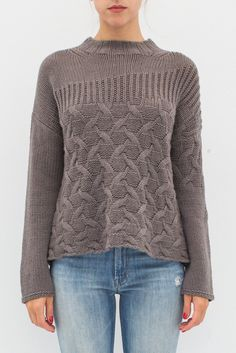 """- 100% Cashmere - Crew neckline - Cable-knit detailing - Color: Taupe - Model is 5'9"""" and wears a size Petite."""
