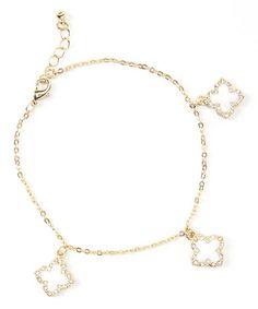 Gold & Cream Quatrefoil Anklet #zulily #zulilyfinds  $7.99