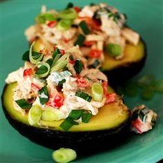Tuna in avocado half.