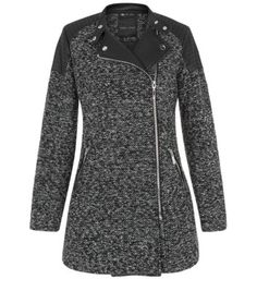 """For an everyday coat this grey textured biker number is ideal - try wearing over black skinny jeans and cross strap heels.- Textured finish- Simple long sleeves- Front side zip fastening- Leather look panels- Zip front pocket detail- Model is 5'8""""/176cm and wears UK 10/EU 38/US 6"""