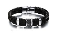 Men's Bracelet - Leather Bracelet - Titanium Steel Bracelet - Black Wristband for Men - Mens Jewelry Gift - Leather Stainless Steel Bracelet by Vaponet on Etsy Leather Charm Bracelets, Black Leather Bracelet, Bracelet Clasps, Bracelets For Men, Fashion Bracelets, Bangle Bracelets, Fashion Jewelry, Bracelet Men, Trendy Bracelets