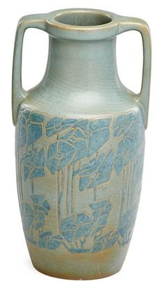 """ELIZABETH OVERBECK (1875 - 1936) HANNAH OVERBECK (1870 - 1931) urn glazed and incised with quatrefoils, Cambridge City, IN, ca. 1920, Incised OBK E. H., 10 3/4"""" x 5 3/4"""""""