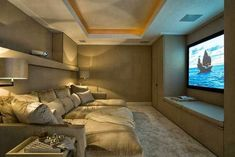 Cozy theater room in small space. Via the Enchanted Home Home Cinema Room, At Home Movie Theater, Home Theater Rooms, Home Theater Design, Dream Theater, Cinema Theatre, Home Theater Seating, Sala Cinema, Attic Theater