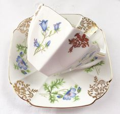 Blue Shelley Queen Anne Tea Cup and Saucer