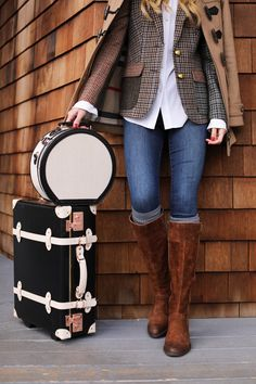 Brown leather boots and Plaid blazer fall outfit; fall style;
