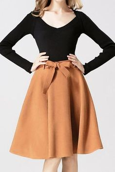 Retro High Waist Bow Belt A-Line Skirt