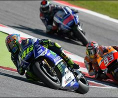 Valentino Rossi leading Marc Marquez and Jorge Lorenzo at Misano Marco simoncelli circuit! 2014
