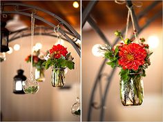 lantern, mason jar florals hanging from arbour