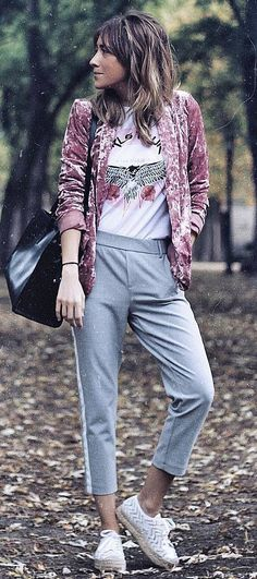 spring fashion trends / pink velvet blazer + bag + printed top + grey pants + sneakers