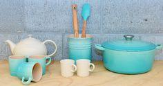 Le Creuset Cool Mint & Dune - colours to update your kitchen décor.