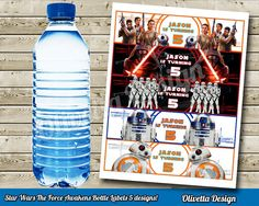 Star Wars Force Awakens Bottle Labels with name by OlivettaDesign