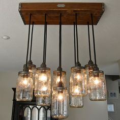 Interior Lighting. Superb Edison Light Fixtures And Collections Decor: Eye Catching 10 Bulb Edison Light Fixtures With Glass Jar Hanging Lam...