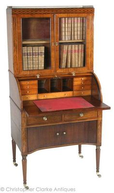 Campaign Cylinder Bureau Cabinet   Possibly one of the finest pieces of campaign furniture ever made. See dis-mantled photo