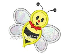 Honey Bumble Bee Applique Machine Embroidery Design Download yellow black boy girl or baby. $3.25, via Etsy.
