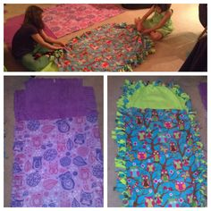 The girls made their own fleece sleeping bags.  Took three layers, two layers were 2 yards and the top layer was about 5 feet.  Cut 4-5 inches into all layers, about one inch apart, all the way around.  Cut out the corners and start knotting   No-sew Fleece Kids crafts
