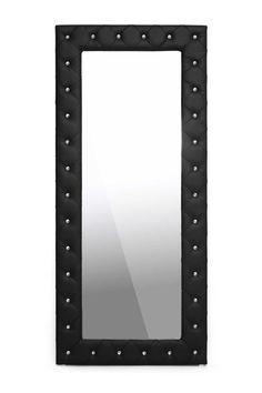 Stella Black Crystal Tufted Modern Floor Mirror on HauteLook
