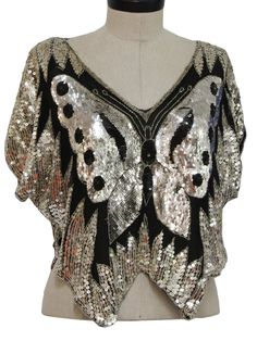 1980 S Womens Erfly Style Sequined Tail Shirt