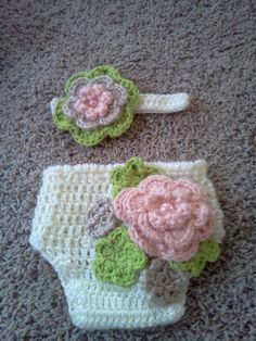 Cute crochet headband and diaper cover