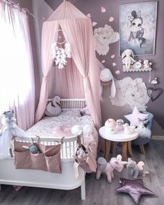 Little girls room - Girl's Clothes - Kinderzimmer Baby Bedroom, Baby Room Decor, Nursery Room, Room Decor Bedroom, Bedroom Ideas, Canopy Bedroom, Comfy Bedroom, Room Baby, Playroom Decor