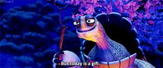 Principle: Secondary Action  As Oogway looks up, his hands and the rest of his body move slightly upward to accentuate him looking up. Technique: 3D animation, Computer Generated Movie: Kung Fu Panda