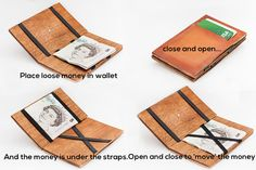 Magic wallet. Leather wallet with wood insides by OMGoshShop