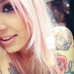 cuteeee, tattoos, hair, pink,girl, tumblr, snake bites, piercings