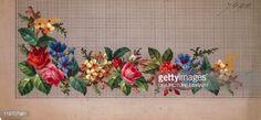 Stock Photo : Hem corner design with roses, cornflowers and primulas, 19th century